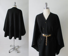 Vintage Black Wool Studded Cape Wrap One Size - Bombshell Bettys Vintage