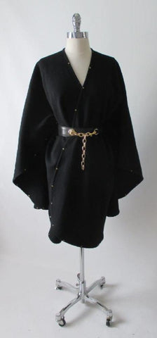 Vintage Black Wool Studded Cape Wrap One Size