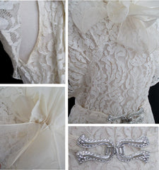 Vintage 30's Antique White Lace Wedding Special Occasion Gown Dress M - Bombshell Bettys Vintage
