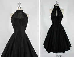 • Vintage 50's Black Chiffon Polished Cotton Full Skirt Evening Party Halter Dress M - Bombshell Bettys Vintage