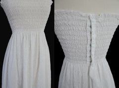 70's white eyelet maxi strapless tube top hippie dress details