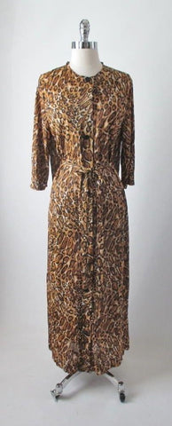 Vintage 60's Fredericks Of Hollywood Jungle Jersey Leopard Robe Dressing Gown S