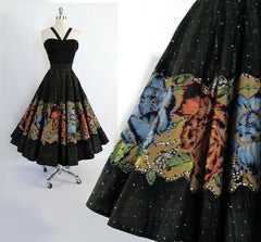 • Vintage 50's Hand Painted Red Blue Roses & Sequins Souvenir Circle Skirt M - Bombshell Bettys Vintage