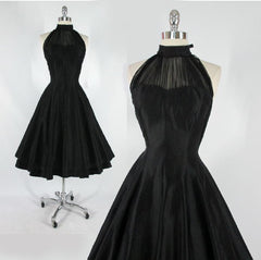 vintage 50's black sheer chiffon party dress gallery