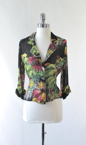 Vintage 90s Gail Garner Sheer Georgette Overshirt Blouse / Light Blazer M