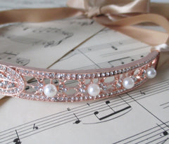 Great Gatsby 1920's Flapper Rose Gold & Rhinestone Headband New - Bombshell Bettys Vintage