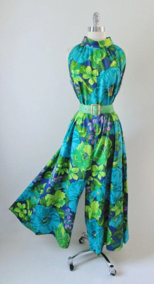 Vintage 60's Bold Hawaiian Wide Leg Ankle Sweeper Palazzo Pants Jumpsuit M - Bombshell Bettys Vintage