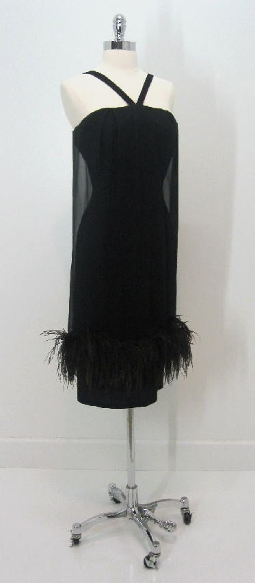 vintage 50's 60's black feathered bombshell wiggle dress