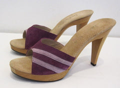 Vintage 70's Frederick of Hollywood Purple Suede Wood Platforms Heels Shoes 10 - Bombshell Bettys Vintage