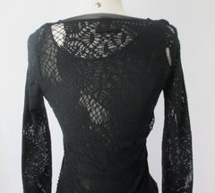 Vintage 90s Jean Paul Gaultier JPG Soleil Black Fishnet Lace Bodycon Dress S - Bombshell Bettys Vintage