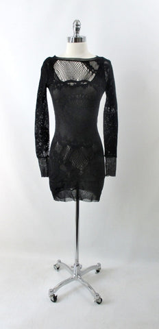 Vintage 90s Jean Paul Gaultier JPG Soleil Black Fishnet Lace Bodycon Dress S