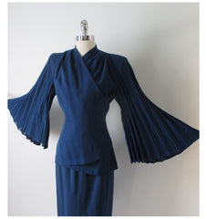 Vintage 40's Lilli Ann Royal Blue Accordion Bell Sleeves Wool Suit XS - Bombshell Bettys Vintage