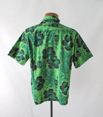 Mens Vintage 50s Green & Gold Hawaiian Shirt L - Bombshell Bettys Vintage
