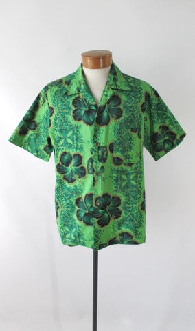 Mens Vintage 50s Green & Gold Hawaiian Shirt L