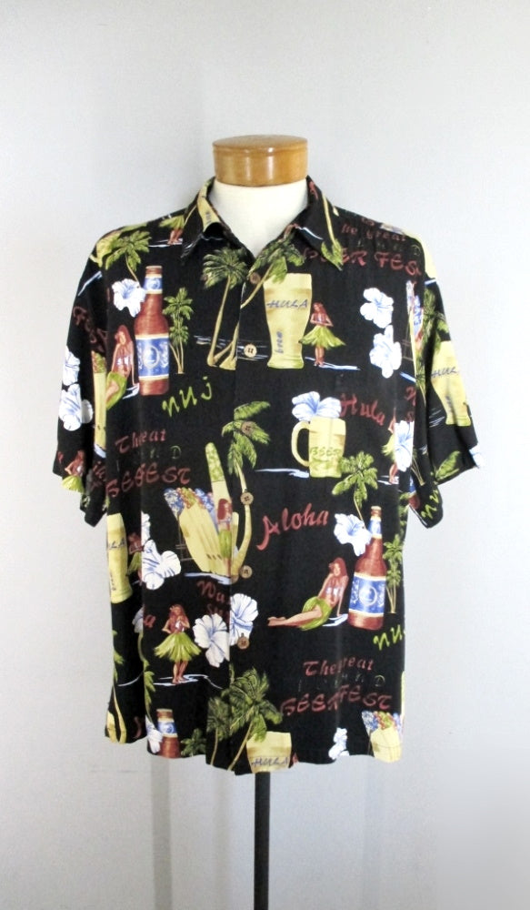 Mens Vintage Hula Girls & Beer Kahala Rayon Hawaiian Shirt XL - Bombshell Bettys Vintage