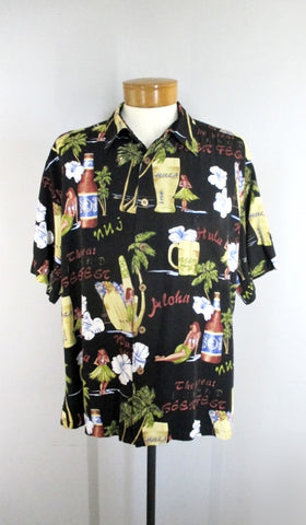Mens Vintage Hula Girls & Beer Kahala Rayon Hawaiian Shirt XL