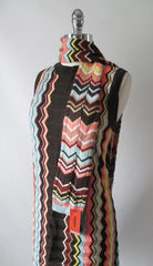 Vintage 60's Style Missoni Zig Zag Knit Mini Shift Dress & Scarf L - Bombshell Bettys Vintage