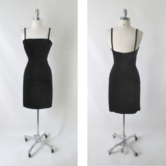 Vintage Moschino Cheap And Chic Black Velvet Party Dress S - Bombshell Bettys Vintage