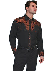 Scully Men's Black Rayon Blend Tooled Rust Floral Embroidered Western Gunfighter Shirt - Bombshell Bettys Vintage