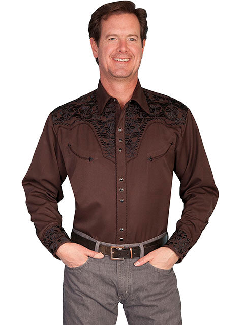 Scully Men's Chocolate Colored Rayon Blend Tooled Floral Embroidered Western Gunfighter Shirt - Bombshell Bettys Vintage