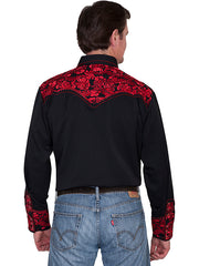 Scully Men's Black Rayon Blend Tooled Crimson Floral Embroidered Western Gunfighter Shirt - Bombshell Bettys Vintage