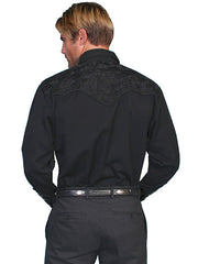 Scully Men's Black Rayon Blend Tooled Floral Embroidered Western Gunfighter Shirt - Bombshell Bettys Vintage