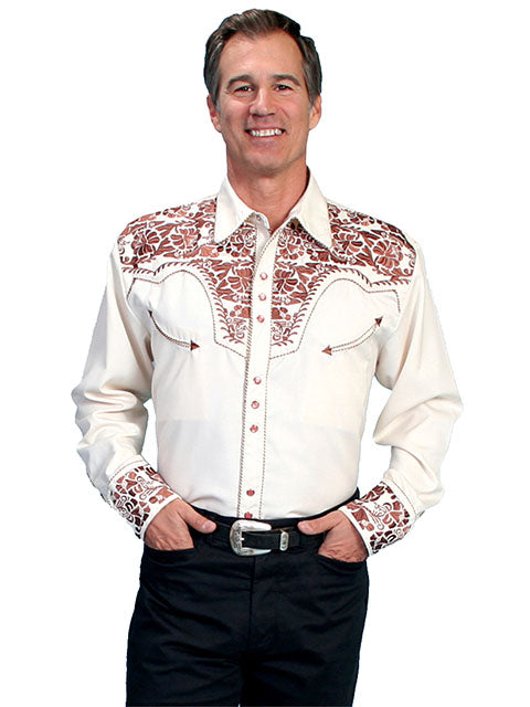 Scully Men's White Rayon Blend Tooled Copper Floral Embroidered Western Gunfighter Shirt - Bombshell Bettys Vintage