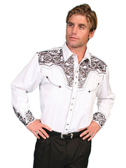 Scully Men's White Rayon Blend Tooled Pewter Floral Embroidered Western Gunfighter Shirt - Bombshell Bettys Vintage