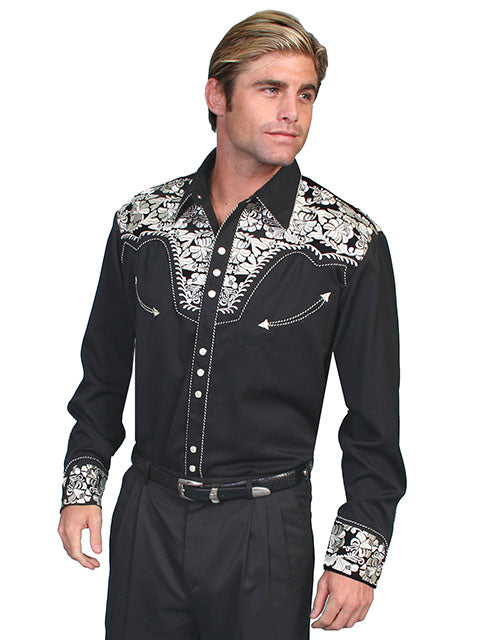 Scully Men's Black Rayon Blend Tooled Silver Floral Embroidered Western Gunfighter Shirt - Bombshell Bettys Vintage