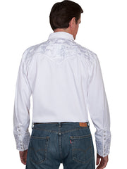 Scully Men's White Rayon Blend Tooled Tonal Floral Embroidered Western Gunfighter Shirt - Bombshell Bettys Vintage