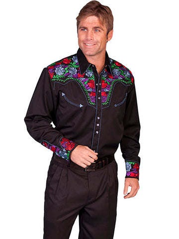 Scully Western Mens Shirt Long Sleeve Snap Embroidery Scroll Turq Black  P-837