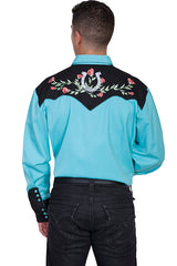 Scully Men's Turquoise Rayon Blend Horseshoe & Rose Embroidered Western Shirt - Bombshell Bettys Vintage