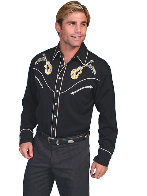 Scully Men's Black Rayon Blend Guitar & Cadillac Embroidered Rockabilly Western Shirt - Bombshell Bettys Vintage