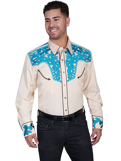 Scully Men's Ivory Rayon Blend Turquoise Scroll Embroidered Western Shirt - Bombshell Bettys Vintage