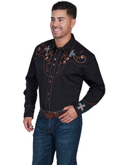New Scully Men's Black Rayon Blend Cross & Scroll Embroidered Western Shirt - Bombshell Bettys Vintage