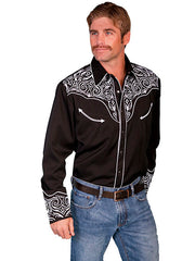 Scully Men's Black Rayon Blend White Scroll Embroidered Pearl Snap Western Shirt - Bombshell Bettys Vintage