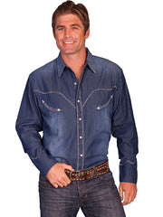 New Scully Men's Blue 100% Cotton Denim Whip Stitched Pearl Snap Western Shirt - Bombshell Bettys Vintage