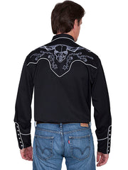New Scully Men's Black Rayon Blend Longhorn Rose & Barbed Wire Embroidered Western Shirt - Bombshell Bettys Vintage