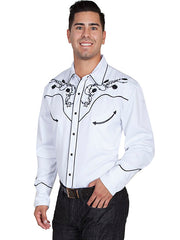 New Scully Men's White Rayon Blend Longhorn Rose & Barbed Wire Embroidered Western Shirt - Bombshell Bettys Vintage