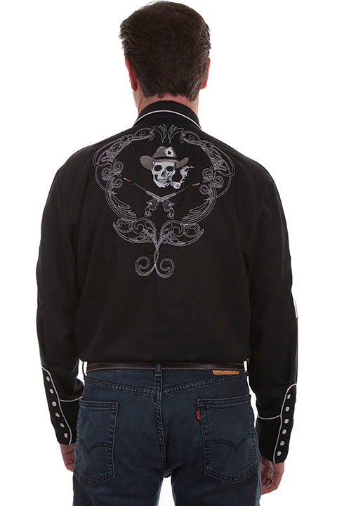 New Scully Men's Black Rayon Blend Embroidered Cigar Smoking Skull Western Shirt - Bombshell Bettys Vintage
