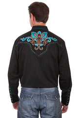 New Scully Men's Black Rayon Blend Embroidered Fleur De Lille Western Shirt - Bombshell Bettys Vintage