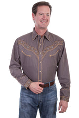 New Scully Men's Brown Rayon Blend Embroidered Southwestern Band & Brass Stud Western Shirt - Bombshell Bettys Vintage