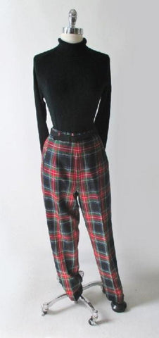 Vintage Pendleton Tartan Plaid Pants Classic Trousers Slacks 8 P M