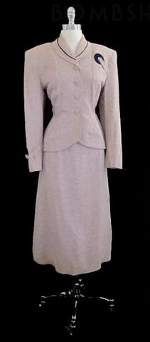 Vintage 1940's WWII Swing Pink Suit Jacket & Skirt Set L