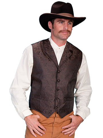New Scully Rangewear Men's Brown Classic Paisley Old West Steampunk Gentleman's Vest