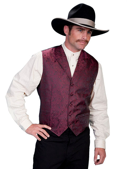 New Scully Rangewear Men's Burgundy Classic Paisley Old West Steampunk Gentleman's Vest - Bombshell Bettys Vintage