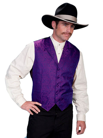 New Scully Rangewear Men's Purple Classic Paisley Old West Steampunk Gentleman's Vest