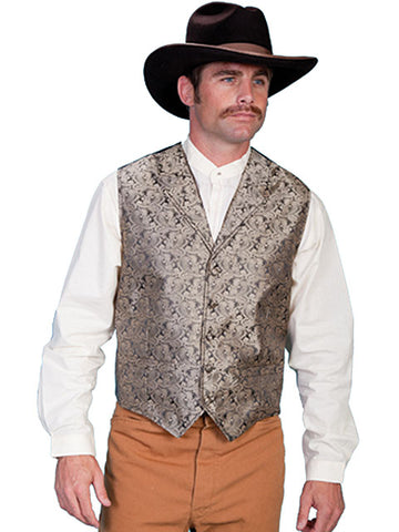 New Scully Rangewear Men's Taupe Classic Paisley Old West Steampunk Gentleman's Vest