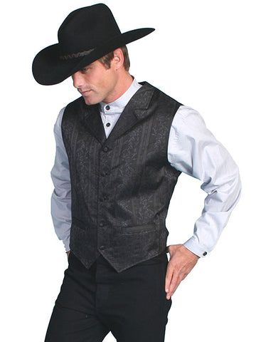 New Scully Rangewear Men's Black Floral Striped Old West Steampunk Outlaw Gunfighter's Vest
