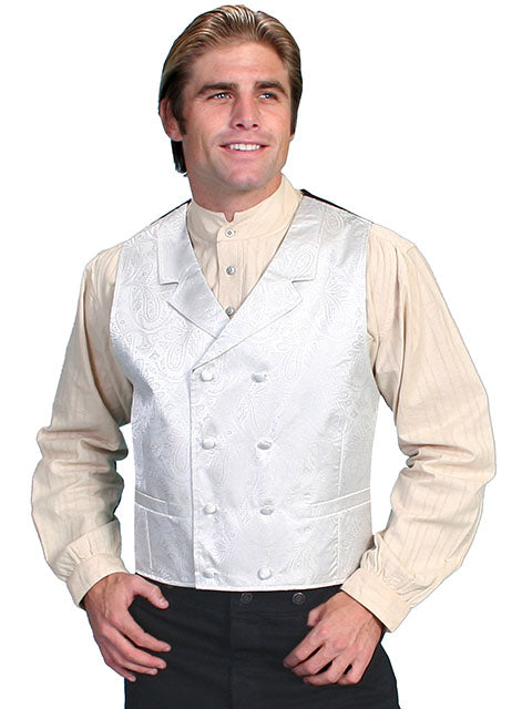 New Scully Rangewear Men's Cream Colored Double Breasted Old West Steampunk Gentleman's Vest - Bombshell Bettys Vintage